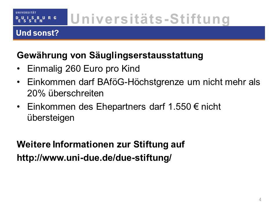Gewährung von Säuglingserstausstattung Einmalig 260 Euro pro Kind