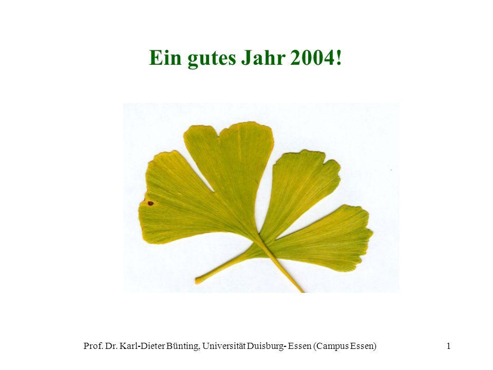 Ein gutes Jahr 2004! Prof. Dr. Karl-Dieter Bünting, Universität Duisburg- Essen (Campus Essen)