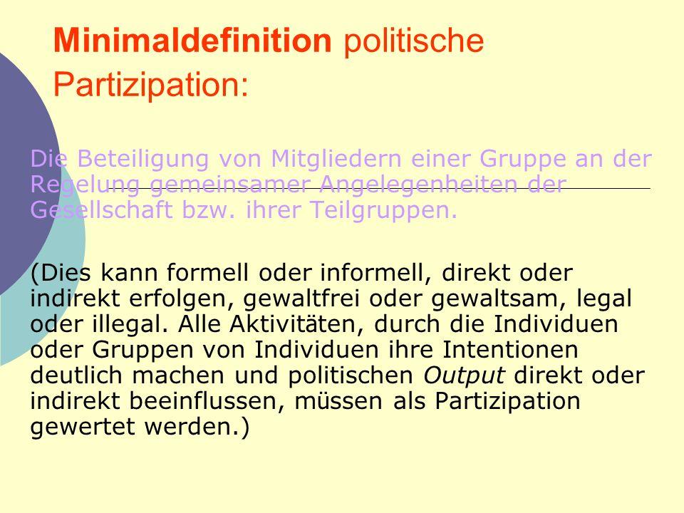 Minimaldefinition politische Partizipation: