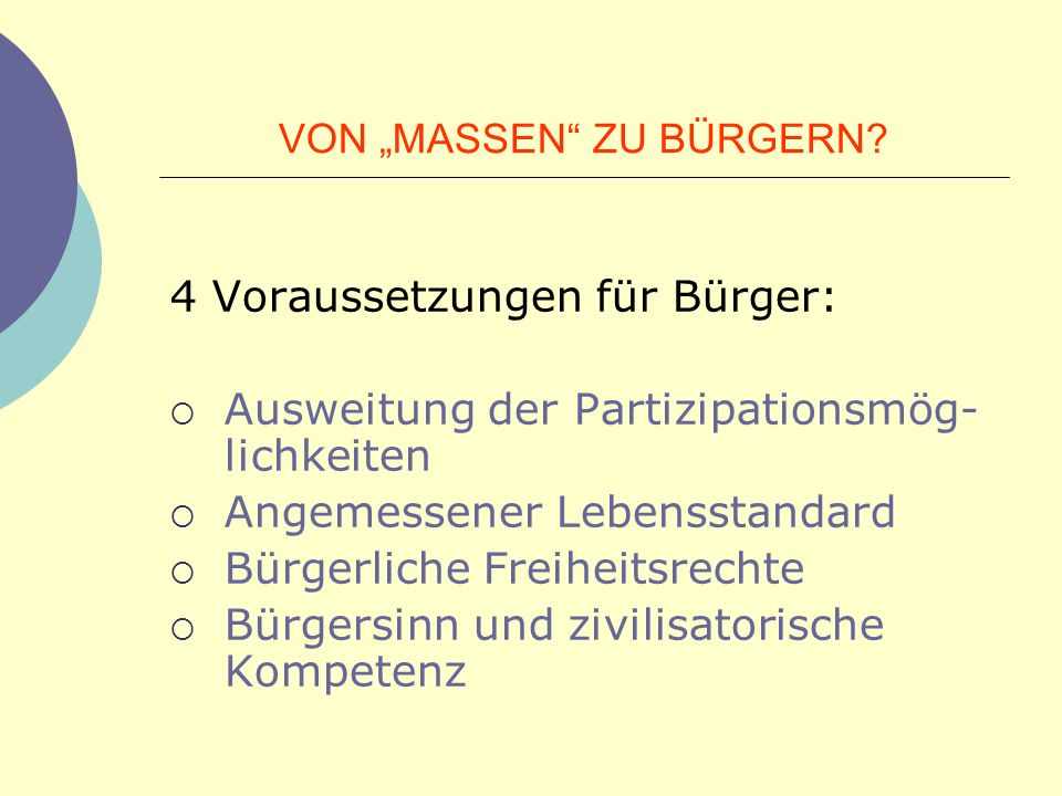 """VON """"MASSEN ZU BÜRGERN"""