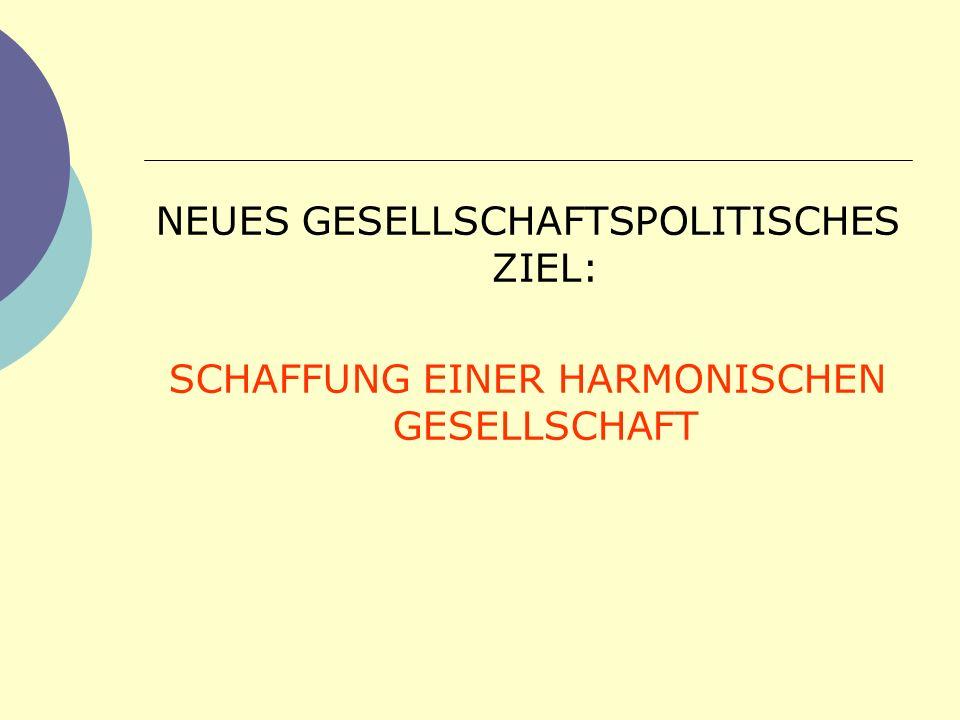 NEUES GESELLSCHAFTSPOLITISCHES ZIEL: