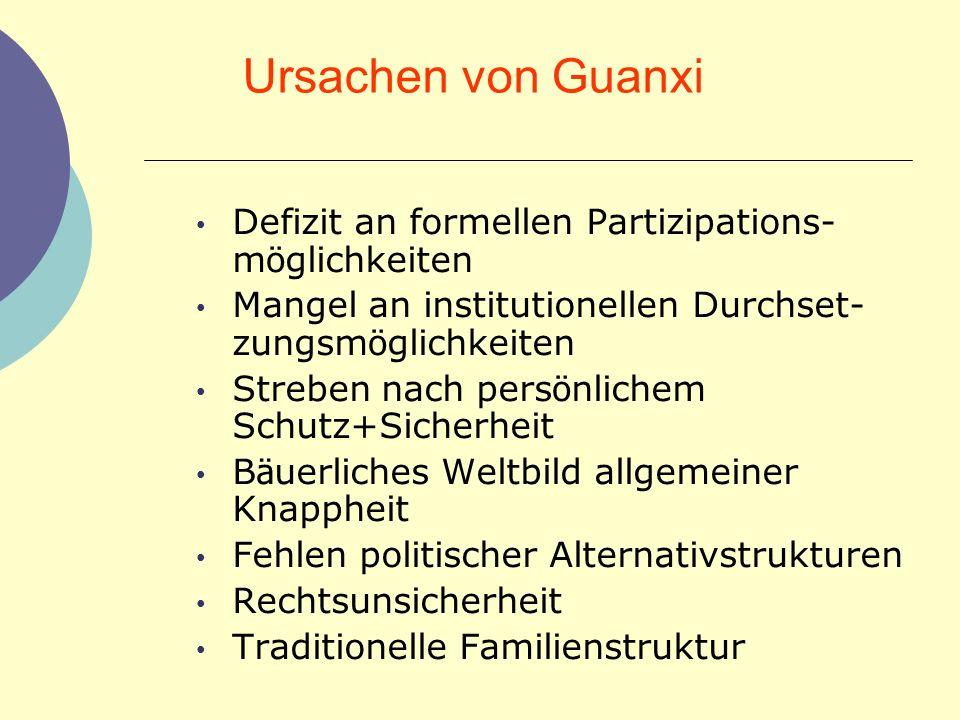 Ursachen von Guanxi Defizit an formellen Partizipations-möglichkeiten