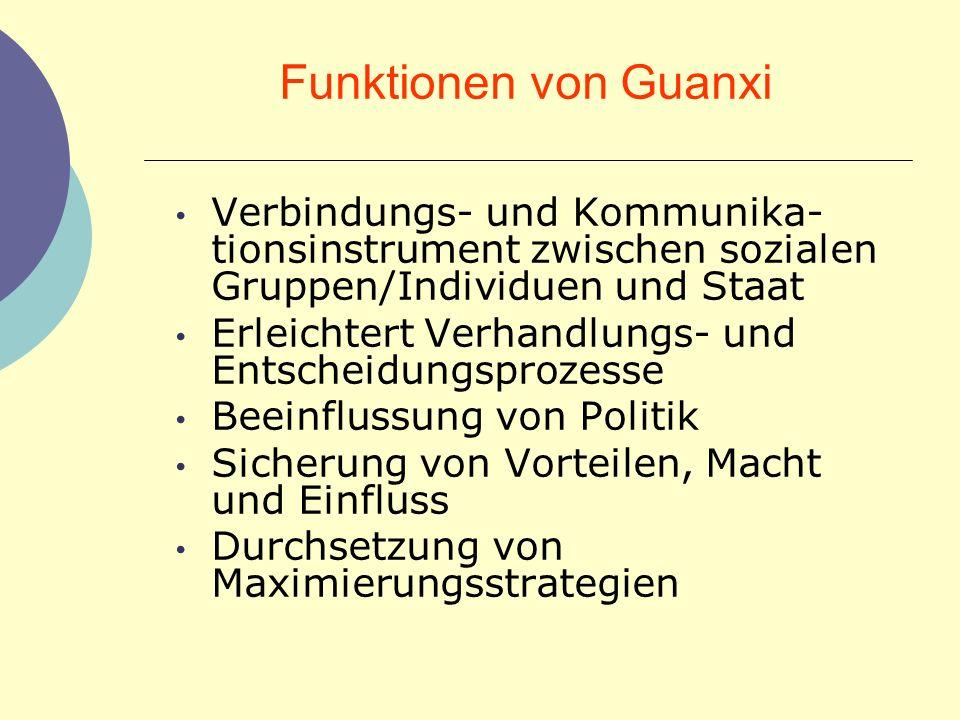 Funktionen von Guanxi Verbindungs- und Kommunika-tionsinstrument zwischen sozialen Gruppen/Individuen und Staat.