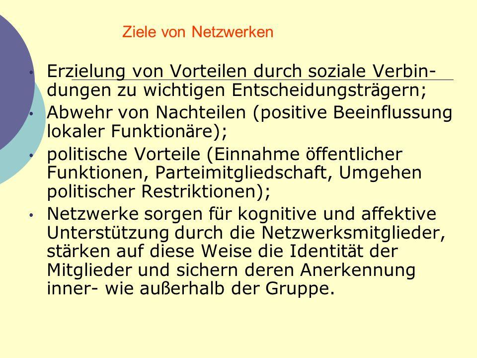 Abwehr von Nachteilen (positive Beeinflussung lokaler Funktionäre);