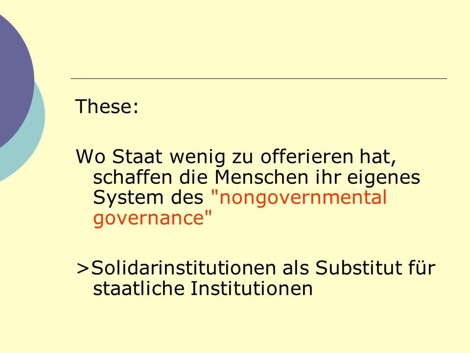 These: Wo Staat wenig zu offerieren hat, schaffen die Menschen ihr eigenes System des nongovernmental governance