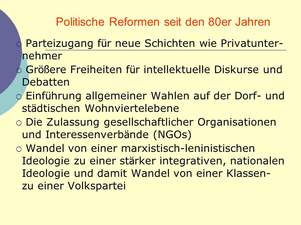 Politische Reformen seit den 80er Jahren