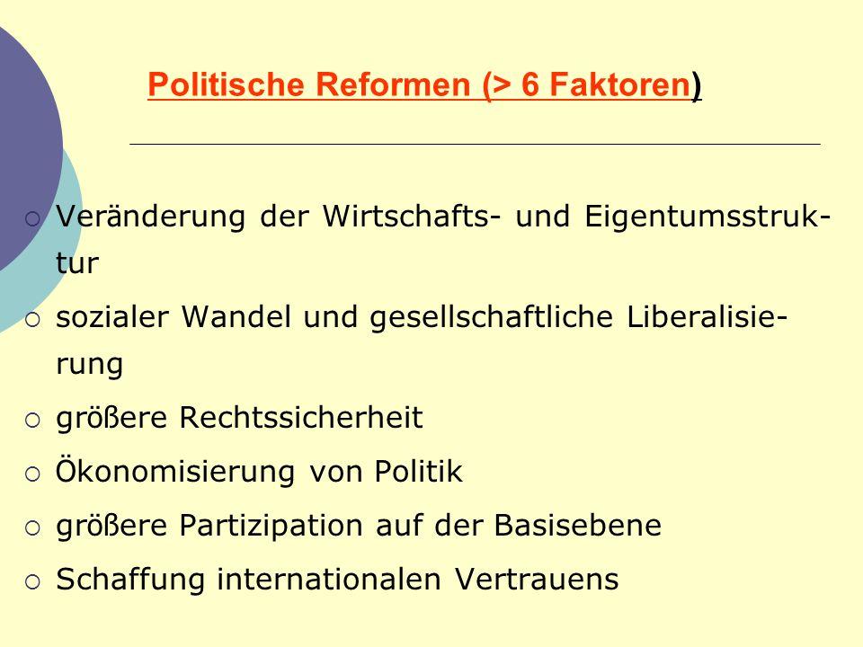 Politische Reformen (> 6 Faktoren)