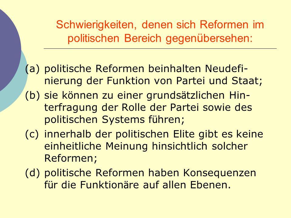 Schwierigkeiten, denen sich Reformen im politischen Bereich gegenübersehen: