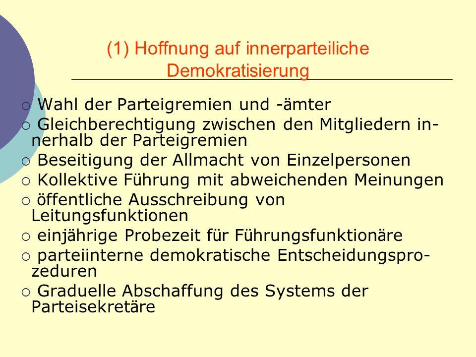 (1) Hoffnung auf innerparteiliche Demokratisierung
