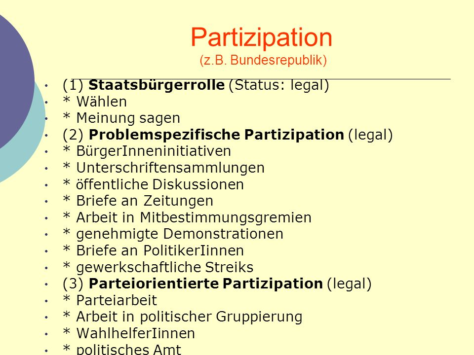 Partizipation (z.B. Bundesrepublik)