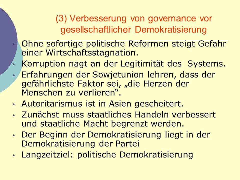 (3) Verbesserung von governance vor gesellschaftlicher Demokratisierung