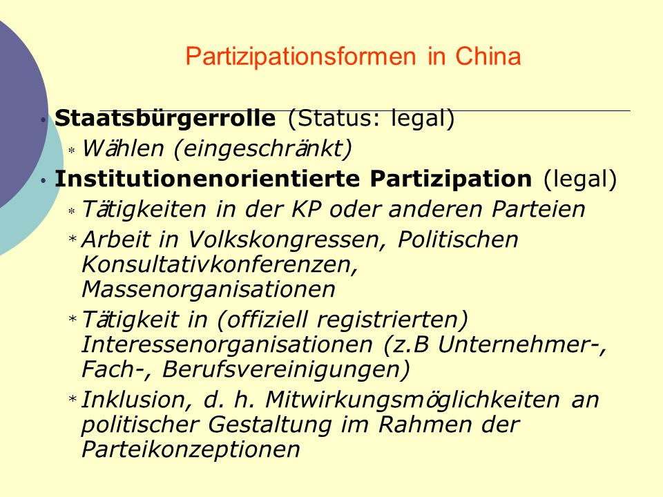 Partizipationsformen in China