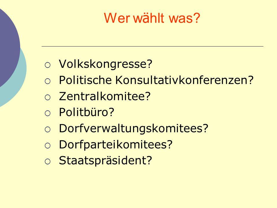 Wer wählt was Volkskongresse Politische Konsultativkonferenzen