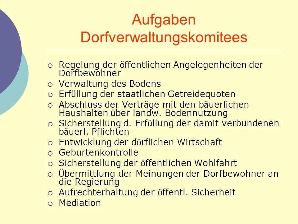 Aufgaben Dorfverwaltungskomitees