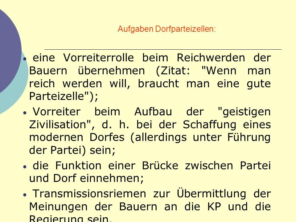 Aufgaben Dorfparteizellen:
