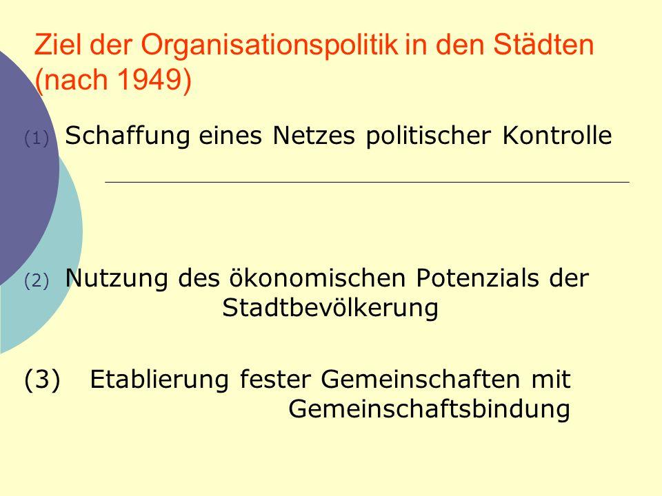 Ziel der Organisationspolitik in den Städten (nach 1949)