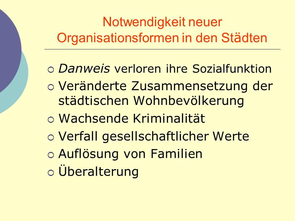 Notwendigkeit neuer Organisationsformen in den Städten
