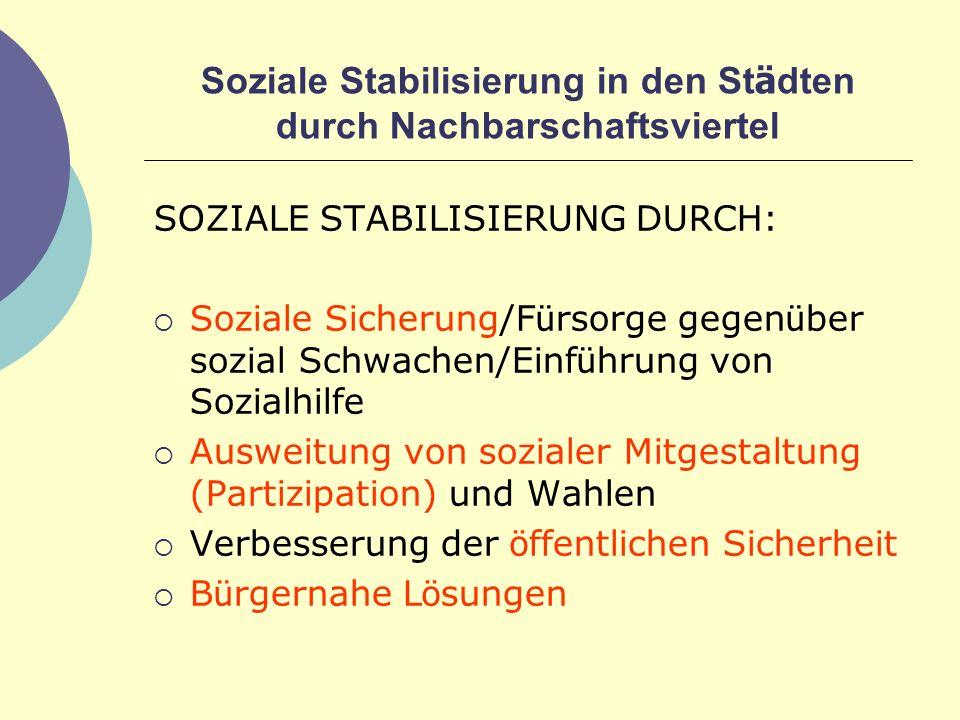 Soziale Stabilisierung in den Städten durch Nachbarschaftsviertel