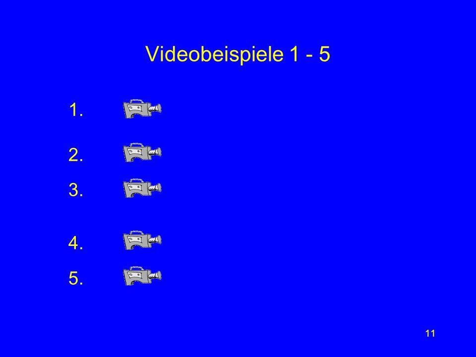 Videobeispiele 1 - 5 1. 2. 3. 4. 5.