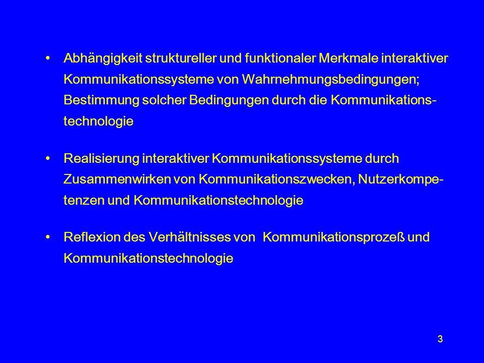 Abhängigkeit struktureller und funktionaler Merkmale interaktiver Kommunikationssysteme von Wahrnehmungsbedingungen; Bestimmung solcher Bedingungen durch die Kommunikations-technologie