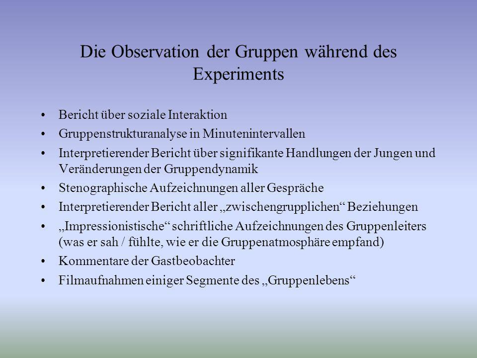 Die Observation der Gruppen während des Experiments
