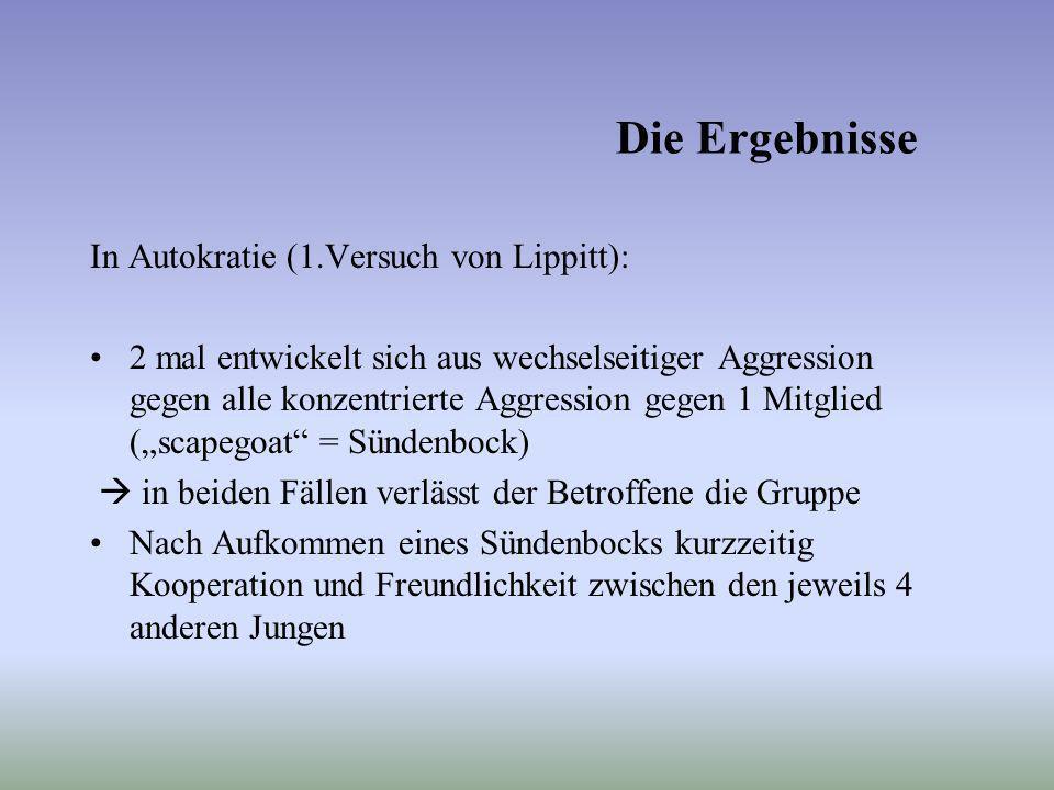Die Ergebnisse In Autokratie (1.Versuch von Lippitt):