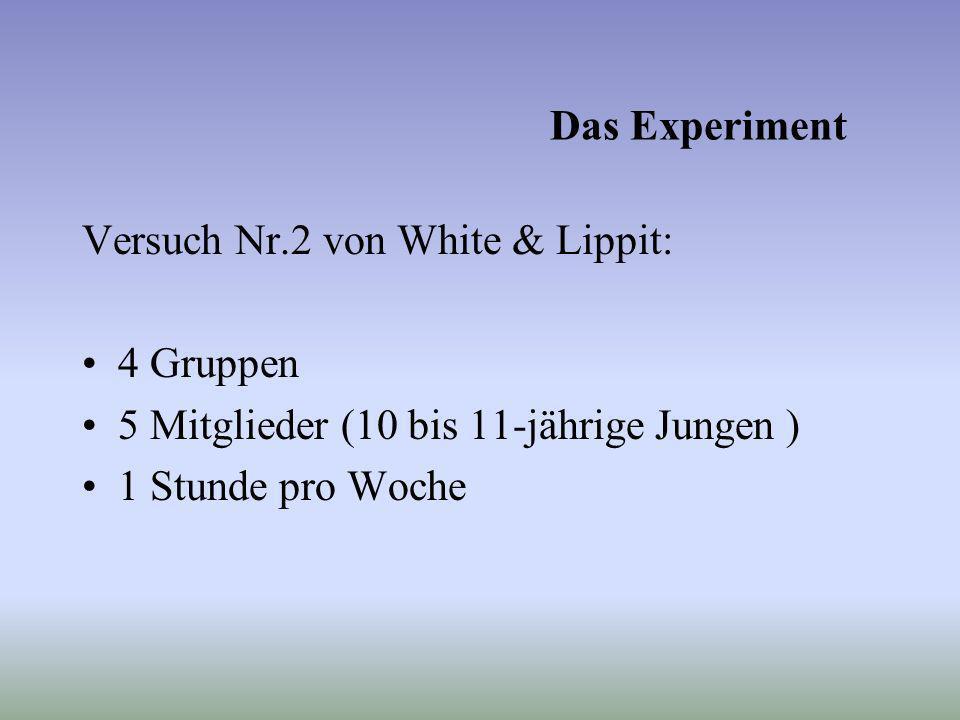 Das Experiment Versuch Nr.2 von White & Lippit: 4 Gruppen. 5 Mitglieder (10 bis 11-jährige Jungen )