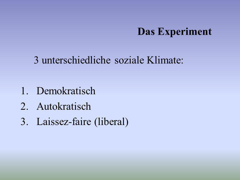 Das Experiment 3 unterschiedliche soziale Klimate: Demokratisch.