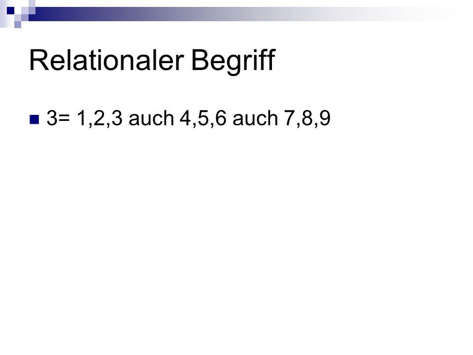 Relationaler Begriff 3= 1,2,3 auch 4,5,6 auch 7,8,9