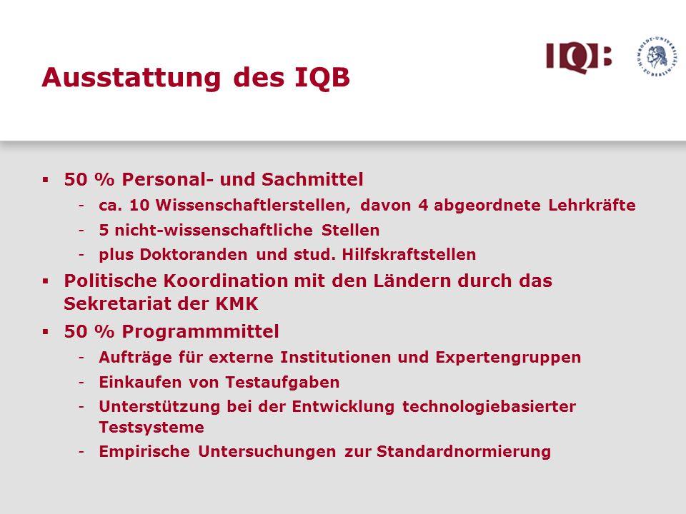 Ausstattung des IQB 50 % Personal- und Sachmittel