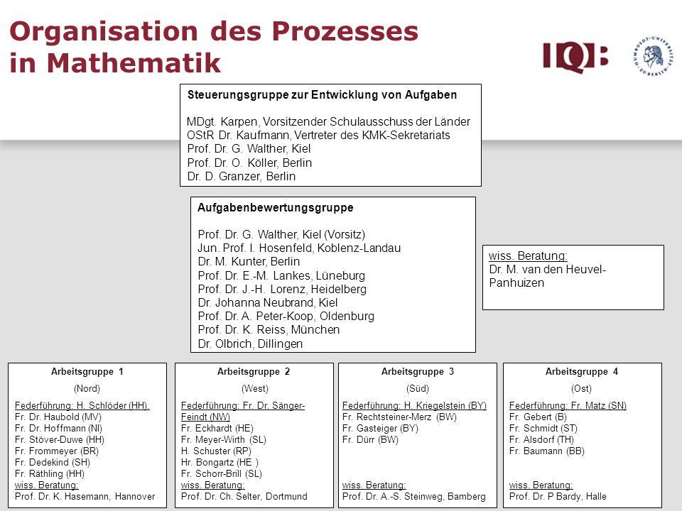 Organisation des Prozesses in Mathematik
