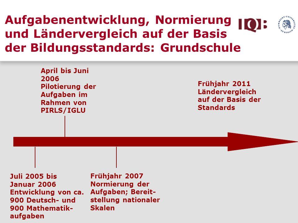 Aufgabenentwicklung, Normierung und Ländervergleich auf der Basis der Bildungsstandards: Grundschule