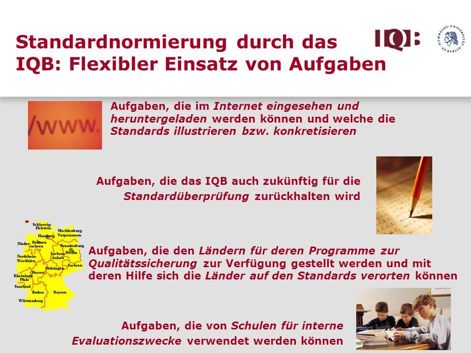 Standardnormierung durch das IQB: Flexibler Einsatz von Aufgaben