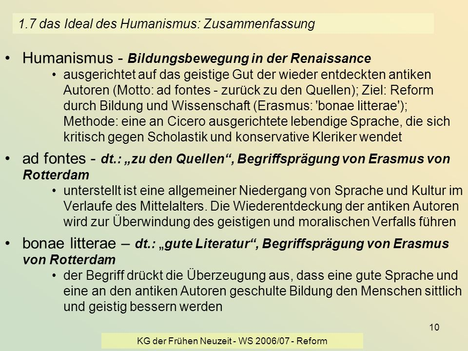 1.7 das Ideal des Humanismus: Zusammenfassung