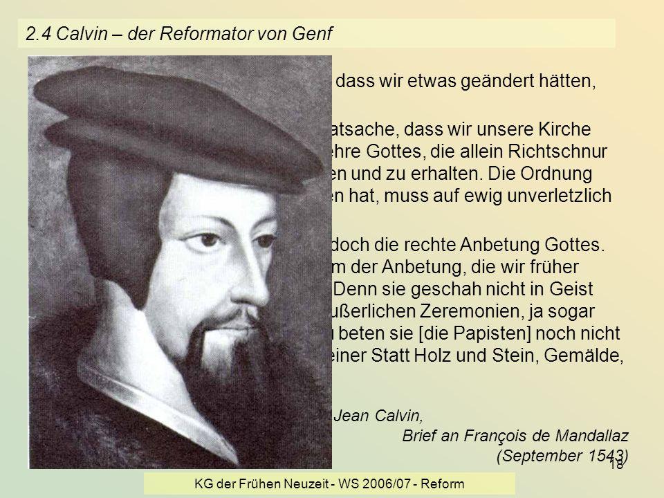 2.4 Calvin – der Reformator von Genf