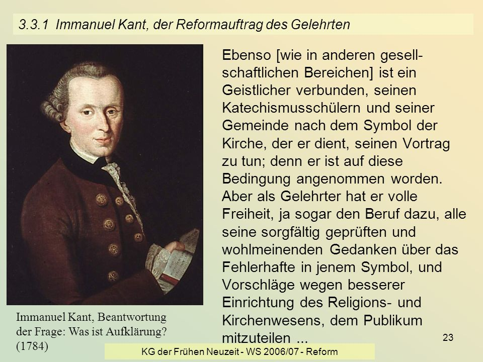 3.3.1 Immanuel Kant, der Reformauftrag des Gelehrten