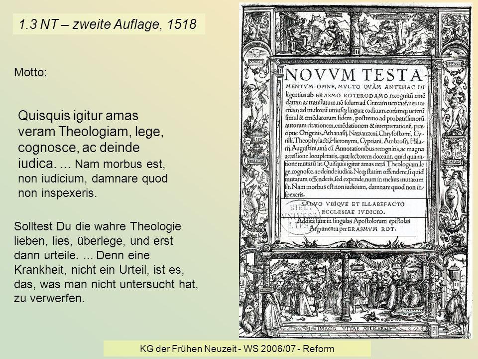 KG der Frühen Neuzeit - WS 2006/07 - Reform