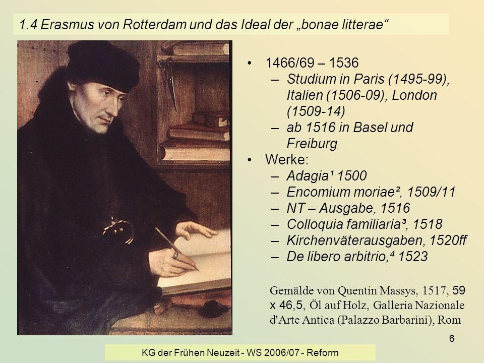 """1.4 Erasmus von Rotterdam und das Ideal der """"bonae litterae"""
