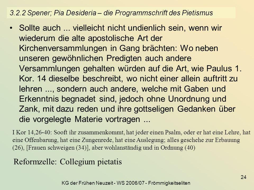 3.2.2 Spener; Pia Desideria – die Programmschrift des Pietismus