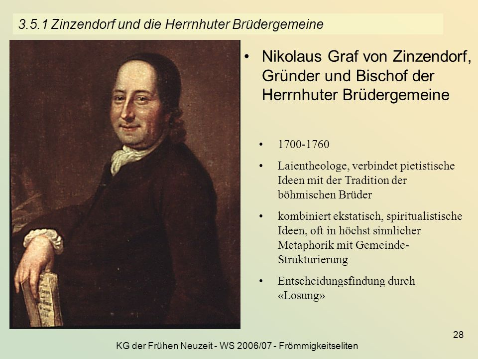 3.5.1 Zinzendorf und die Herrnhuter Brüdergemeine