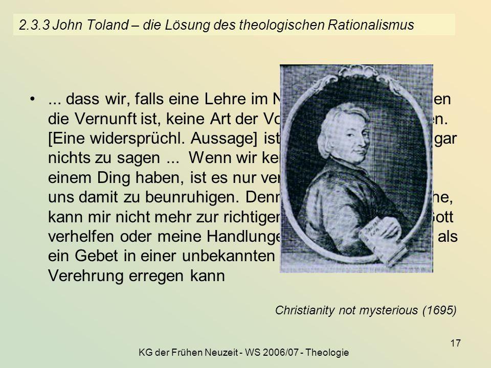 2.3.3 John Toland – die Lösung des theologischen Rationalismus