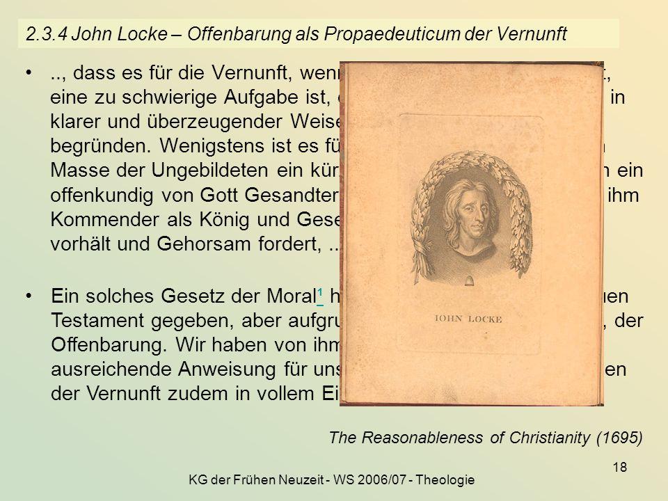 2.3.4 John Locke – Offenbarung als Propaedeuticum der Vernunft