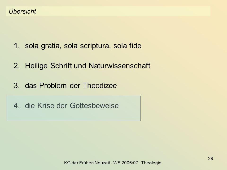 KG der Frühen Neuzeit - WS 2006/07 - Theologie
