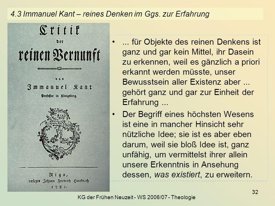 4.3 Immanuel Kant – reines Denken im Ggs. zur Erfahrung