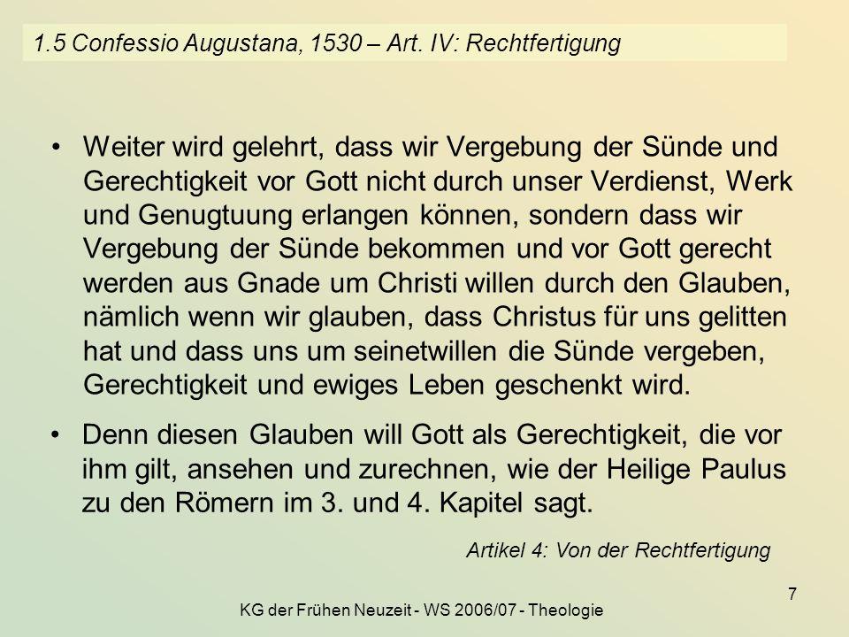 1.5 Confessio Augustana, 1530 – Art. IV: Rechtfertigung