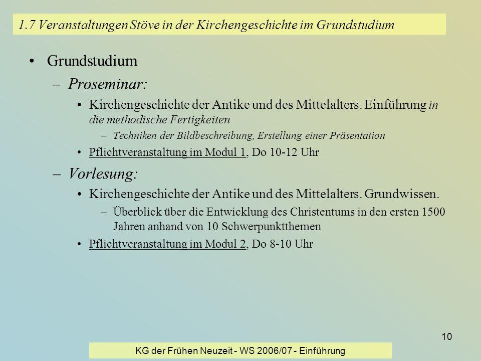 1.7 Veranstaltungen Stöve in der Kirchengeschichte im Grundstudium