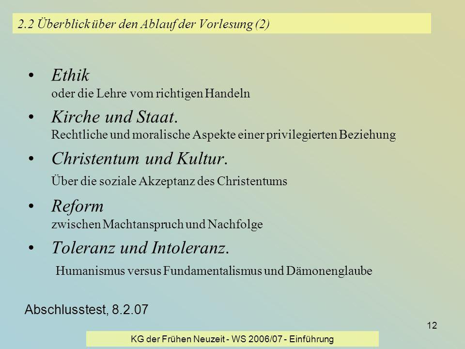 2.2 Überblick über den Ablauf der Vorlesung (2)