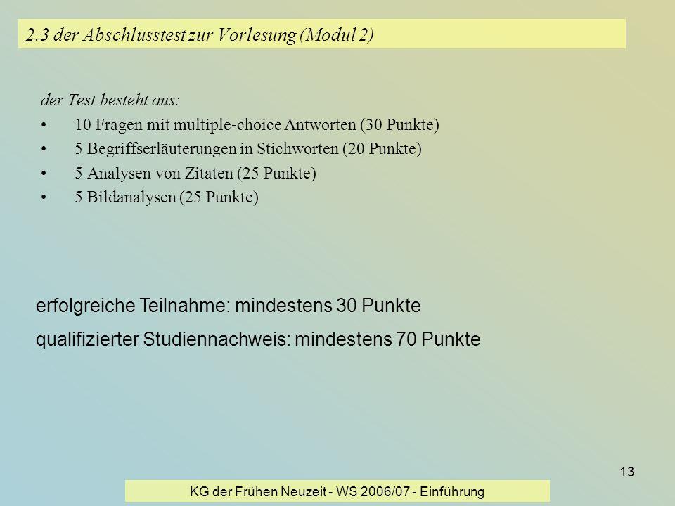2.3 der Abschlusstest zur Vorlesung (Modul 2)