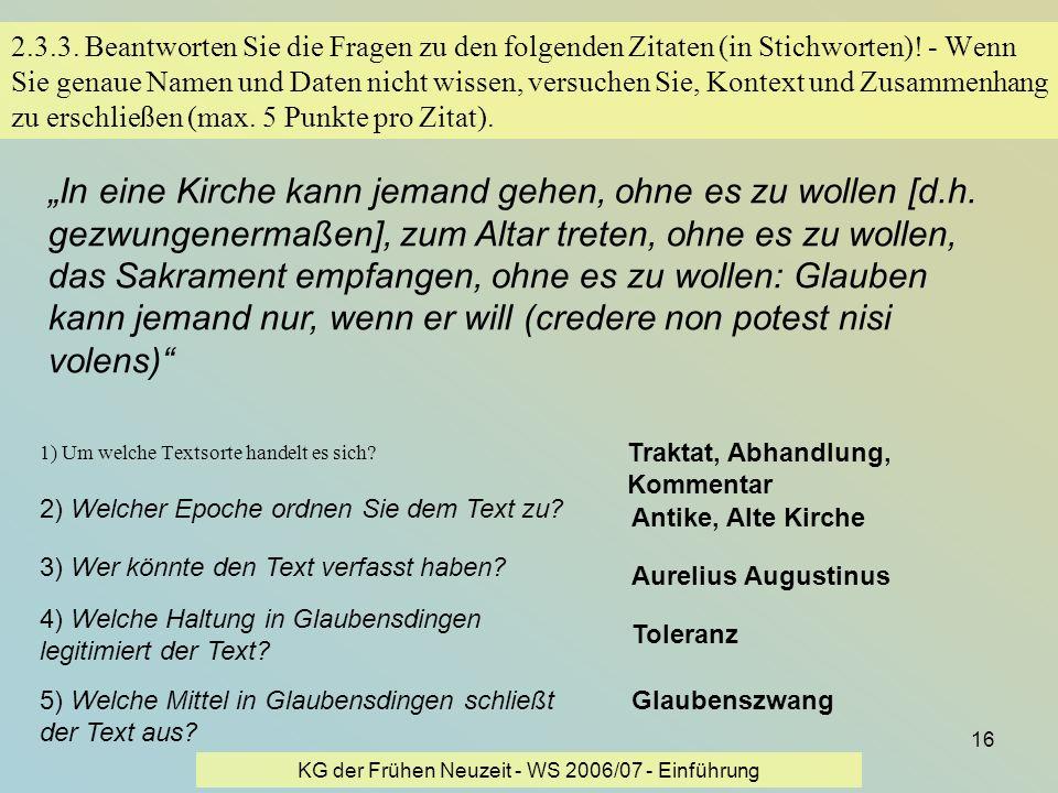 KG der Frühen Neuzeit - WS 2006/07 - Einführung
