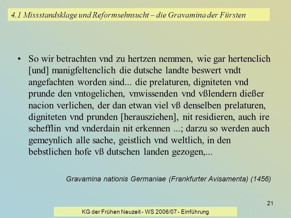 4.1 Missstandsklage und Reformsehnsucht – die Gravamina der Fürsten